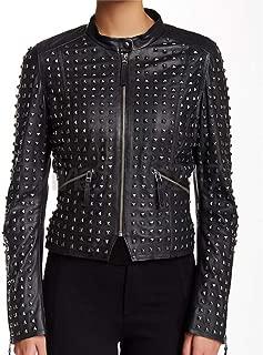 New Biker Philipp Plein Full Black Tonal Studded Unique Zipper Cowhide Leather Jacket for Women