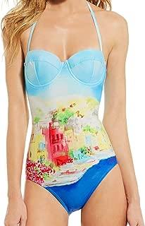 One Piece Swimsuit Underwire Padded Bra Watercolor Swimwear Multi Small