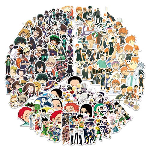 Pegatinas japonesas de dibujos animados mixtos: pegatinas My Hero Academia, Demon Slayer pegatinas Haikyuu (150 unidades) para monopatín, ordenador portátil, coche, parachoques,bicicletas.