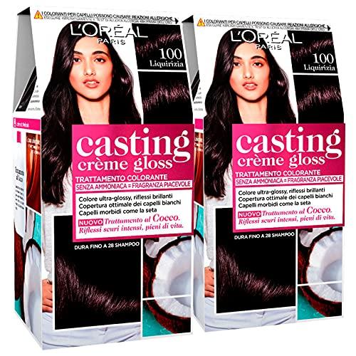 2x L Oréal Paris Casting Crème Gloss Colorazione Capelli Tinta Permanente Colore 100 Liquirizia Senza Ammoniaca con Trattamento al Cocco - 2 Tinte