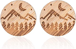 MIXIA Handmade Globe World Map Earrings for Women Men Hiking Jewelry Gift Geometric Round Wooden Crescent Moon Star Stud E...