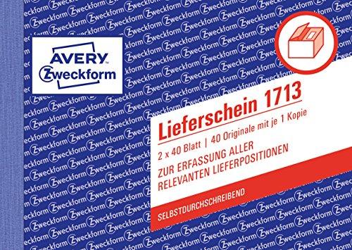 AVERY Zweckform 1713 Lieferschein speziell für Österreich (A6 quer, 2x40 Blatt, selbstdurchschreibend mit farbigem Durchschlag, zur Erfassung aller relevanten Lieferpositionen) weiß/ gelb