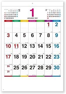 新日本カレンダー 2021年 カレンダー 壁掛け カラーラインメモ小 NK450 1月始まり 46/8切(37.3×25.4㎝)