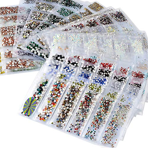 Sytaun 6 Taille DIY Glitter Strass Nail Art Paillettes Stickers Mixte Manucure Décoration Beaux Ongles Autocollants Naturels Ongles Lumineux 18#