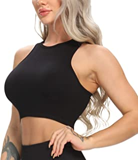 Womens Seamless Knitted Sport Bra Elastic Stretch Workout Running Crop Top Casual Athletic Yoga Top