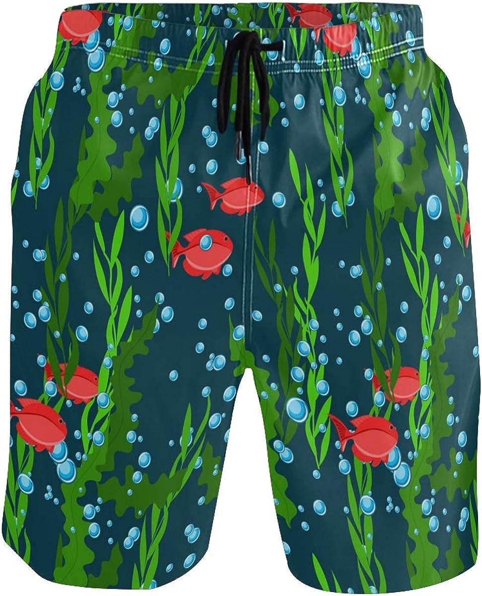 ALAZA Mens Swim Trunks, Underwater Seaweed Fish Mens Swim Shorts Boardshorts Beach Swimming Shorts for Men Small