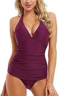 Hilor Women's Two Piece Swimsuit Bandeau Blouson Swimsuit barthing Suits Retro Tankini Set
