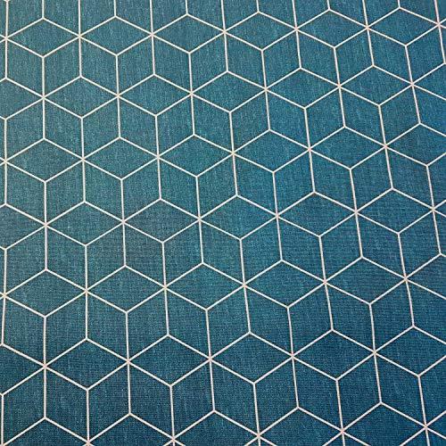 Werthers Stoffe Stoff Meterware Baumwolle beschichtet Petrol weiß Würfel Origami Tischdecke abwaschbar