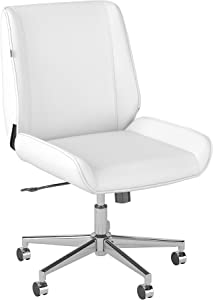 Bush Business Furniture Bay Street Wingback Leather Office Chair, White