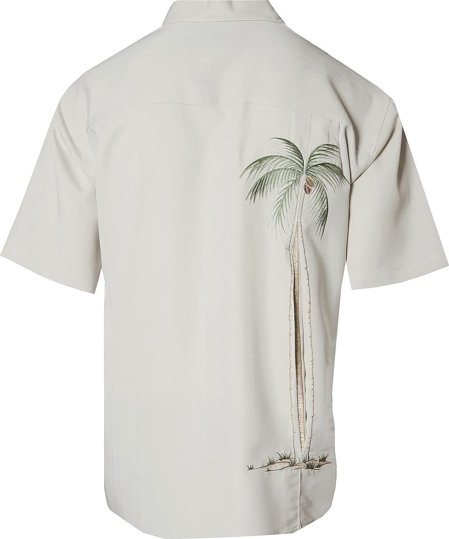 Bamboo Cay Men's Embroidered Palm Tree Hawaiian Shirt Short Sleeve Casual Camp Shirt