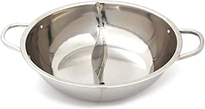 """Carrotez Stainless Steel Hot Pot Cooker, Hotpot Pot with Divider Soup base Cooker, 13"""" x 11"""" x 2.9"""" Silver"""