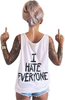 Women's I Hate Everyone Letters Print Sleeveless T-Shirts Tees Casual Vest Blouse Tops