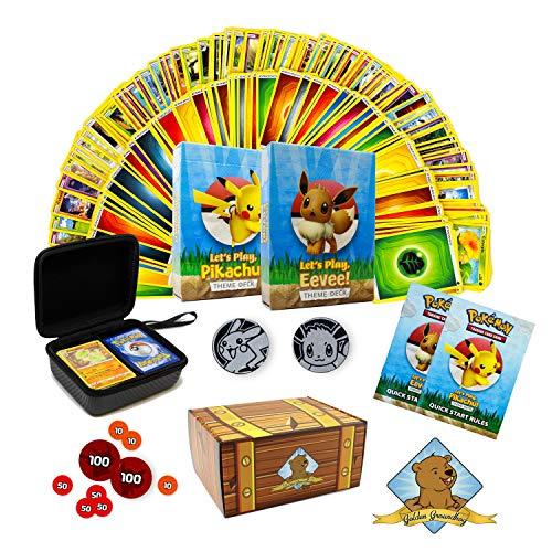 Pokemon Cards | Learn to Play Starter Kit | Includes 2 Starter Decks (Pikachu VS Eevee) | Learn to Play Instructions | 200x Additional Cards, Carrying Case & More