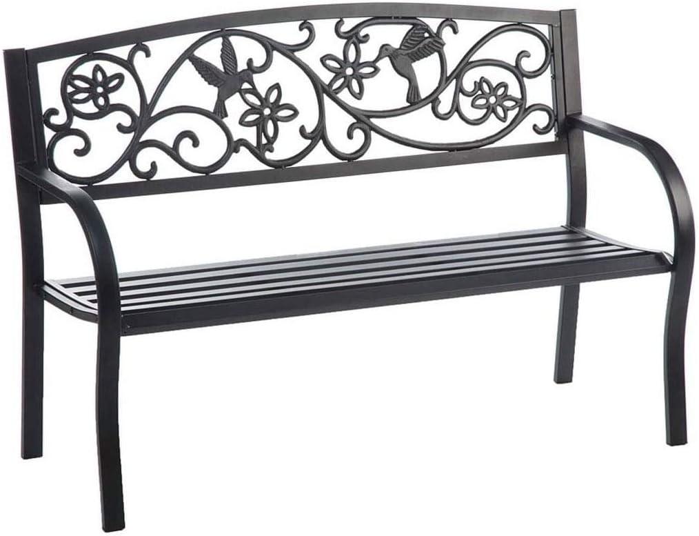 Hummingbird Metal Fresno Mall Washington Mall Garden Bench Backed Aluminum Black