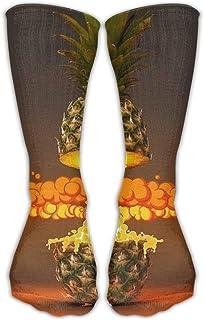 デザインファニーパイナップル火山スタイリッシュアートブーツ靴下用女性&女の子
