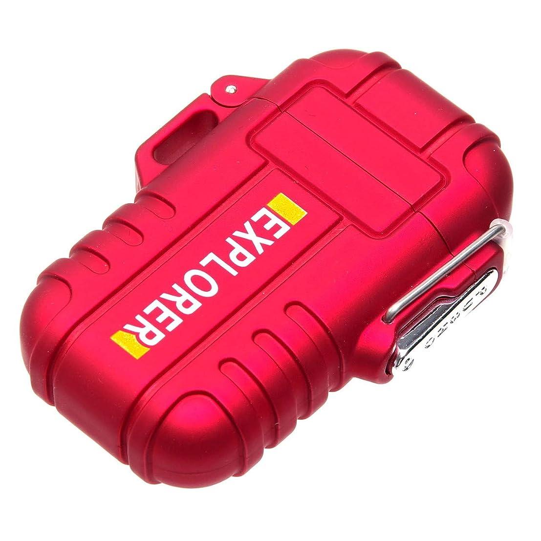 気体の頑張る枯渇GoodsLand 【3color】 防水 & 防塵 プラズマライター 軽量 コンパクト USB充電式 ダブルアーク 放電 クロス ターボ USB 給電式 電子 電熱 ライター GD-BPLTR-RD