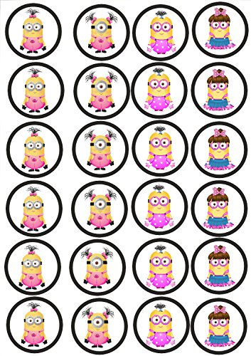 24 Muffin & Cupcake Aufleger Fondant Minions C4