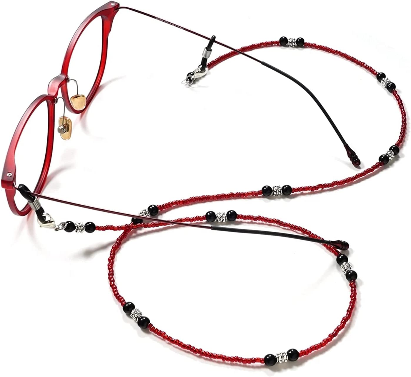 Fashion Handmade Eyeglasses Chains Red Black Glass Beads Sunglasses Chains Anti-Slip Eyewear Holder Necklace Rope for (Color : Red)