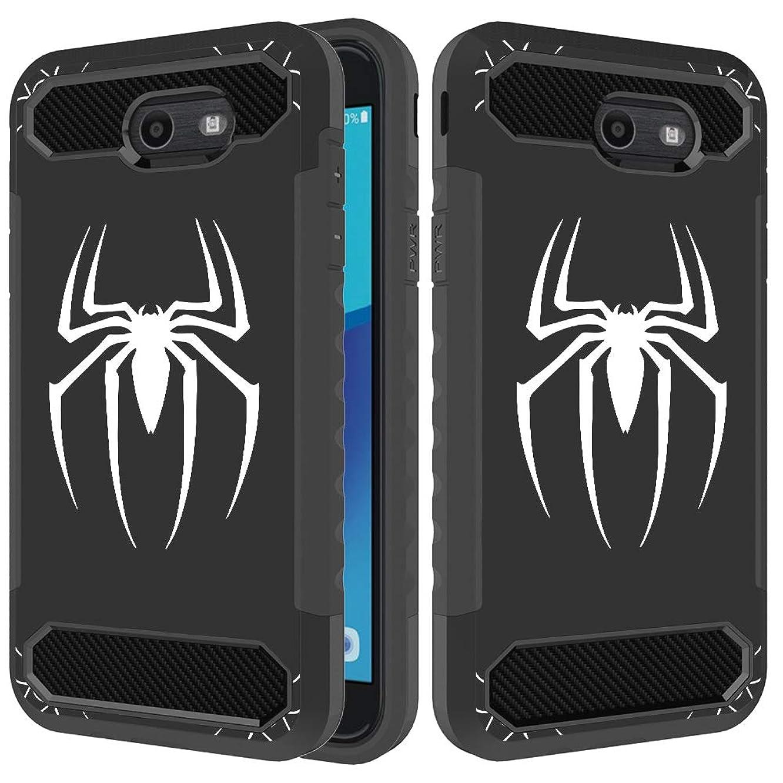 Rugged Armor Samsung Galaxy J7 Prime Case,Galaxy J7 V /J7 Perx/J7 Sky Pro/J7 2017/Galaxy Halo Case, Turphevm Flexible Durable Shock Absorption with Carbon Fiber Design for Galaxy J7 2017 Black Spider