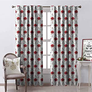GloriaJohnson Tattoo Blackout Curtain Red Poppy Flowers with Geometric Details Arrows and Circles Watercolor Boho Fashion 2 Panel Sets W52 x L54 Inch Multicolor