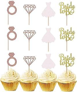 24 st 'Bride to Be' cupcake toppers, roséguld glitter brud att vara cupcake, diamant, bröllopsklänning, blivande brud för ...