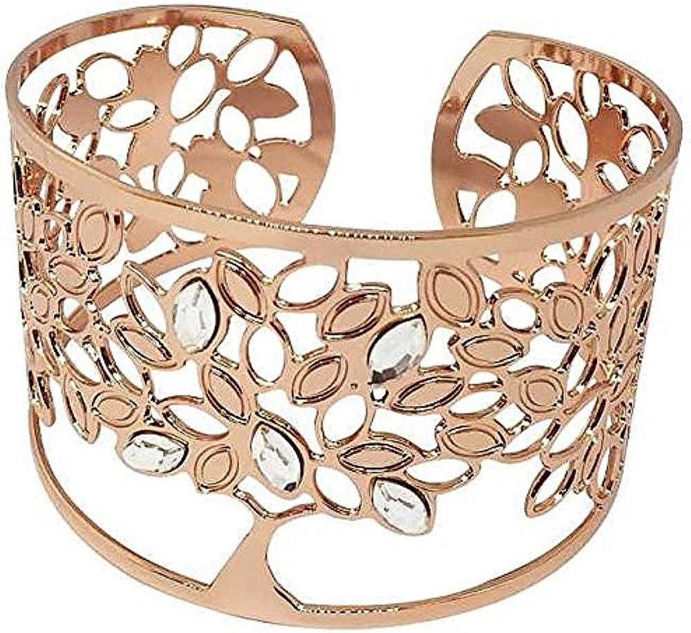 Boccadamo, bracciale per donna,in bronzo placcato oro rosa e cristalli swarovski Xbr427Rs