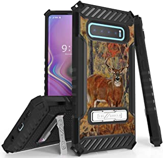Galaxy S10 Plus Case, Tri-Shield [Hunter Series] Rugged Military-Grade Cover with Metal Kickstand [Whitetail Deer Design] ...