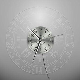 e10fba5a76f YJSMXYD Horloge,Horloge Murale Acrylique Bord LED Allumé Murale Norse Rune  Compass Murale Lumineuse avec