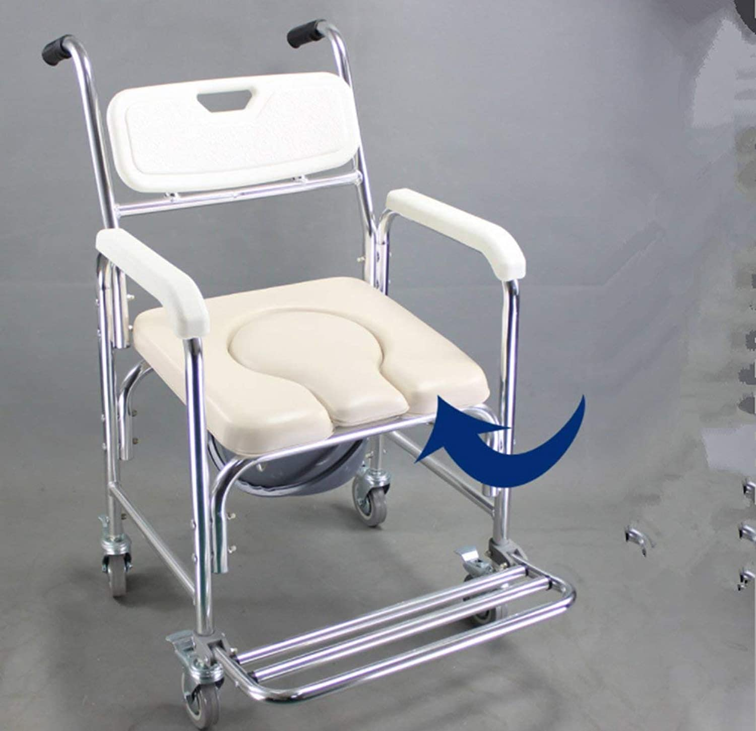 YINmume Shower Bedside Commode With Armrests With Health Line, Toilet With Roller Shower Chair With Casters (4 Wheel Brakes), Toilet Seat Backrest And Seat,2