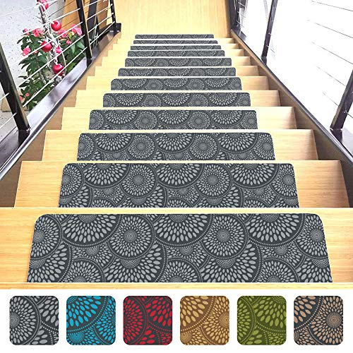 "Shape28 Stair Treads Ultra-Thin with Non Slip Rubber Backing 9""x26"", Gray 7 Pieces"