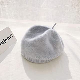 OULUOBA Japanese wool knit wool cap beret hat female autumn and winter sweet wild solid color warm pumpkin hat tide (Color : Light blue, Size : One size)