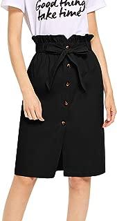 WDIRARA Women's High Ruffle Waist Belted Knee Length Button Up Skirt