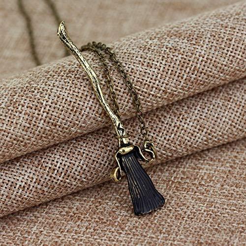 Fashionflying Halskette mit Besen aus Metall, antiker Bronze, Hexe, Zauberer, magischer Besen