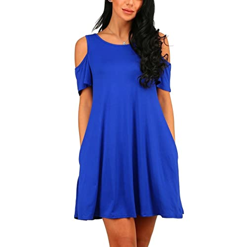 e633185a34 PCEAIIH Women's Summer Cold Shoulder Tunic Top Swing T-Shirt Loose Dress  with Pockets