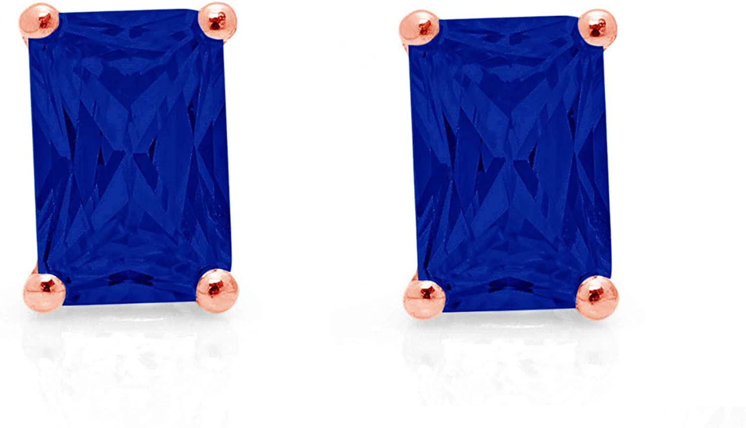 1.0 ct Brilliant Emerald Cut Solitaire VVS1 Fine Simulated Blue Sapphire Gemstone Pair of Stud Earrings Solid 18K Pink Rose Gold Screw Back
