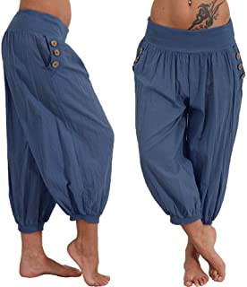 MURTIAL Women's Yoga Capris Elastic Waist Boho Check Pants Baggy Wide Leg Summer Casual