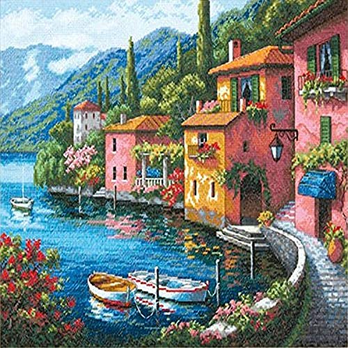 DIMENSIONS Gold Collection Lakeside Village Counted Cross Stitch Kit-15'X12' 16 Count