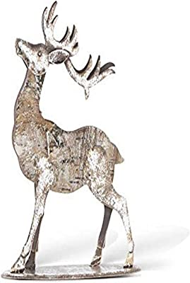 K&K Interiors 53255A 14 Inch Wood Motif Deer W/Front Leg Down, Metal/MDF