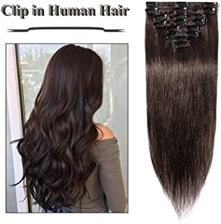 Clip in Hair Extensions Dark Brown 14-24 inch Remy Human Hair for Women 8pcs 18 Clips Full Head Soft Straight Hair(18