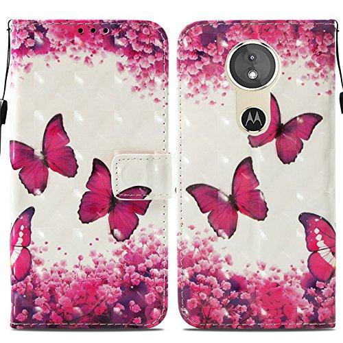 Ooboom® Motorola Moto E5/G6 Play Hülle 3D Flip PU Leder Schutzhülle Stand Handy Tasche Brieftasche Wallet Hülle Cover für Motorola Moto E5/G6 Play - Schmetterling Rose