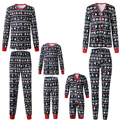 huateng Navidad Conjunto de Pijama a Juego con la Familia, Manga Larga Tops + Pantalones Xmas Impreso Pjs Ropa de Dormir Homewear Outfits Clothes