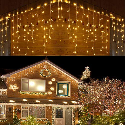 LED Icicle Lights, 640 LED Christmas Lights, 65.6ft 8 Modes Plug in Fairy String Lights with 120 Drops for Indoor Bedroom Outdoor Window, Party Decoration (Warm White)