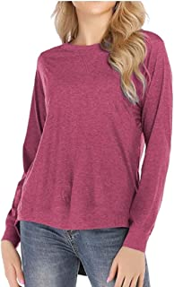 Keaac Women Long Sleeve Loose Fit Solid Color Swallow Tail Tops Blouse T-Shirt