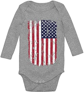 Tstars USA Vintage Flag 4th of July American Flag Baby Long Sleeve Bodysuit