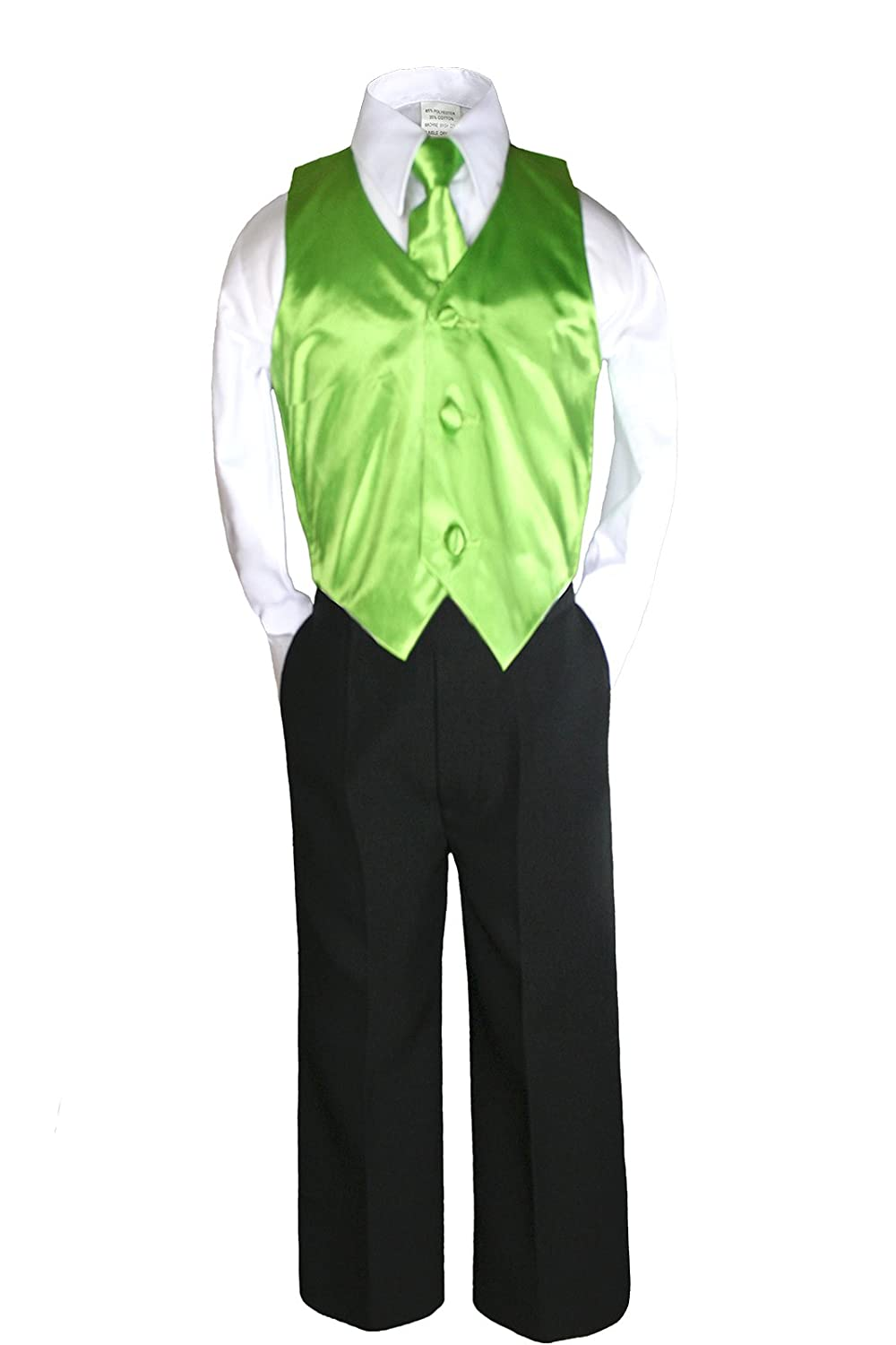 Unotux 4 Piece Formal Boy Green Vest Set Suit 0 month to 7 years (7)