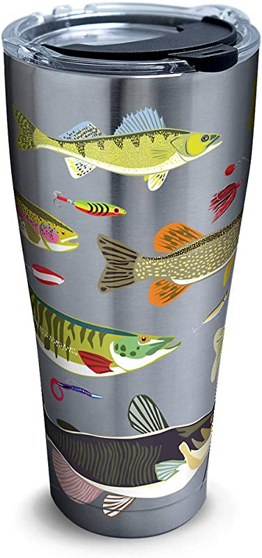 Tervis 1261366 Freshwater Fish And Lures Stainless Steel Tumbler With Clear And Black Hammer Lid 30oz Silver