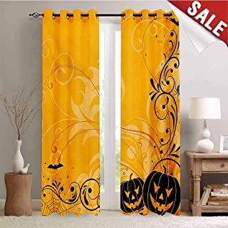 Hengshu Halloween Thermal Insulating Blackout Curtain Carved Pumpkins with Floral Patterns Bats and Web Horror Jack o Lantern Artwork Blackout Draperies for Bedroom W96 x L96 Inch Orange Black