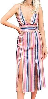 Women's Colorful Striped Dresses Spaghetti Strap Deep V Neck Two Front Slits Midi Dress