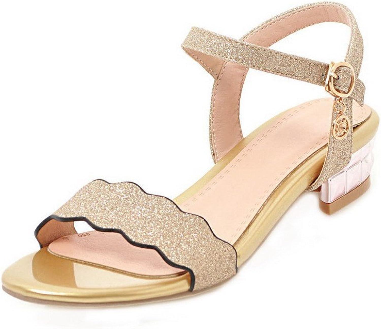 AllhqFashion Women's Open-Toe Low-Heels Sequins Solid Buckle Sandals
