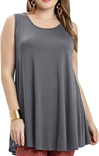 AUPYEO Women Plus Size Sleeveless Tunic Summer Loose Home Tank Tops for Leggings